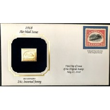 1918 Air Mail Issue INVERTED JENNY 22kt Gold Replica Stamp Reproduction