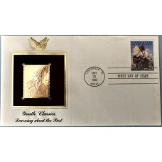 1993 Youth Classics Little House on the Prairie US Stamp FDC and 22kt gold replica